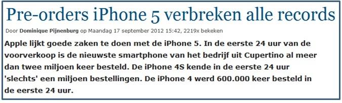 voorverkopen Iphone5 verbreken records