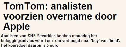 Beleggen in TomTom, persbericht