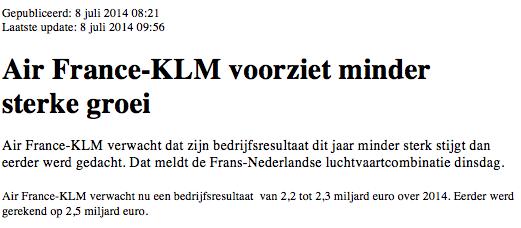 Online handelen in aandelen KLM 7