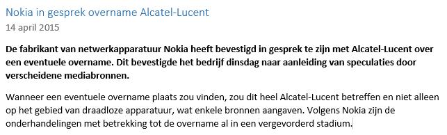Nieuwsbericht Beleggingservaring met Alcatel