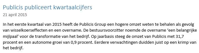 Beleggen in aandelen Publicis, nieuwsbericht