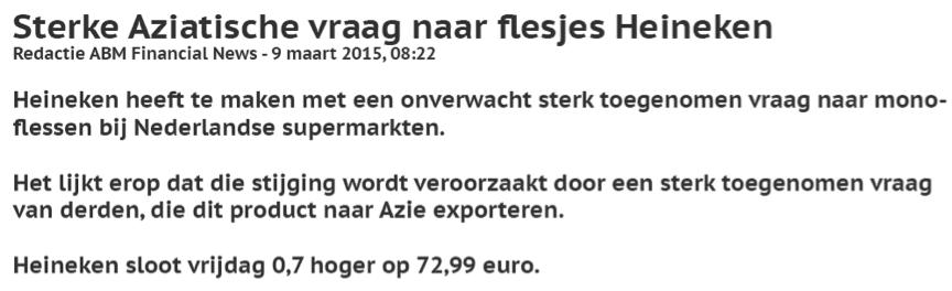 Daytraden met aandelen van Heineken Nieuwsbericht