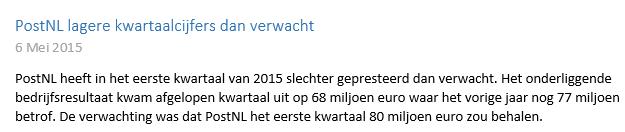 Beleggen met 100 euro in PostNL, Nieuwsbericht