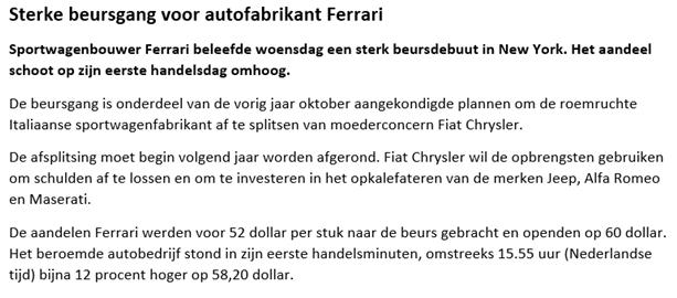 Handelen in aandelen Ferrari: long gaan