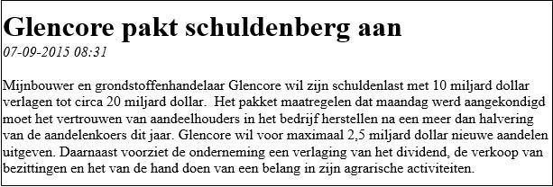 Beleggingservaring met Glencore