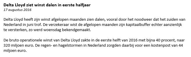 Delta Lloyd nieuwsbericht